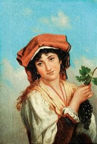 junge italienerin mit trauben by achille leonardi