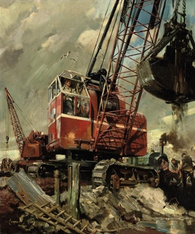 red crane and train at building site by terence cuneo