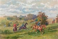 débuché du rallye gaiement, devant la ferme de panchien, à baudry (au premier plan, la baronne karl reille) by karl andré jean (baron) reille