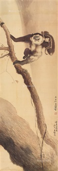 树间戏猴 镜片 设色绢本 (monkey) by yang shanshen