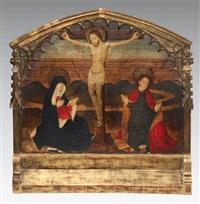 le christ en croix entouré de la vierge marie et saint jean by french school (15)