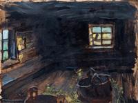 sauna interior by akseli valdemar gallen-kallela