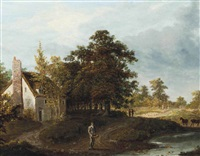 a figure before a cottage by patrick nasmyth