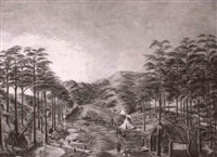 road making in the black forest near mount     macedon, victoria, morning and evening by g. taylor