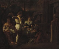 abraham entertaining the three angels by hendrik heerschop