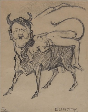 cartoon depicting hitler as the bull in the rape of europa by louis raemaekers
