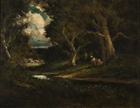 figures, stream and cottages in a wooded glade by william keith