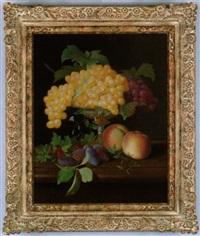 stilleben mit weintrauben in einer silbernen, teilweise vergoldeten tazza sowie pfirsichen und anderen by a. renault