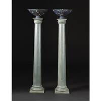pair of mikrokosmos urns on columns by olof hult