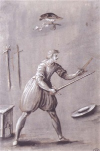 armed man poised for combat, with two other swords, a hat, and a bird of prey by jacob matthias weyer