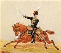 equestrian portrait of hussars (+ another; pair) by henry martens