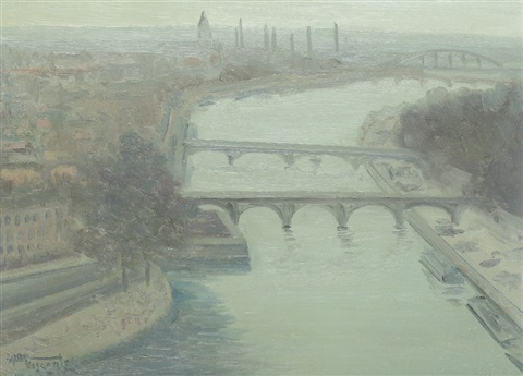 bridges over seine during dusk by henri visconte