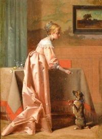 woman with her dog by jean de la hoese