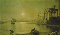 figures in a classical river landscape by moonlight by fortunato ariolla
