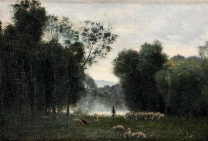 berger et son troupeau dans une clairière by stanislas lépine