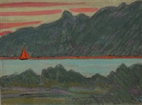 sortie du golfe du morbihan, la voile rouge by jean françois aubertin