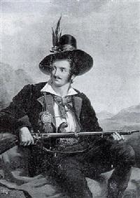 a seated sportsman holding a rifle in a mountainous landscape by hendrik breukelaar