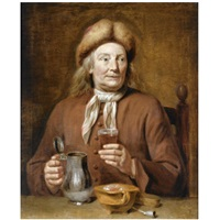 a man sitting at a table holding a glass of beer by jan maurits quinkhardt