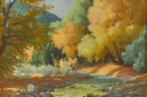 cottonwoods and ivory elder taos cañon new mexico by joseph henry sharp