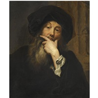 self-portrait of the artist, half length, wearing a black hat by anthoni schoonjans