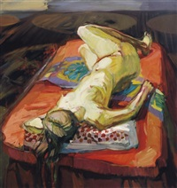reclining nude on a red bed by mariana edna volz