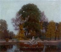 herbstmotiv aus dem schwarzenberggarten in wien by anton hans karlinsky