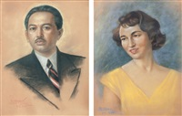 portrait of raden mas soedibio (+ portrait of his wife; pair) by raden basoeki abdullah