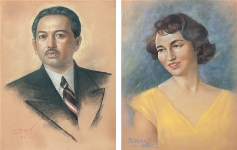 portrait of raden mas soedibio portrait of his wife pair by raden basoeki abdullah