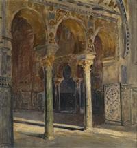 blick in den repräsentationssaal in alkazar (sevilla) by johann victor kramer