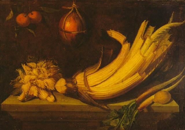 bodegón con cardo rábanos y limón sobre una mesa con naranjas y un melón colgados by juan fray sanchez y cotan