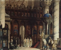 the interior of a byzantine church by carlo cornaglia