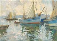 bateaux de pêche au mouillage by renée carpentier