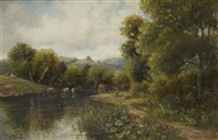 fishermen in a river landscape with cattle watering by bernard i. green