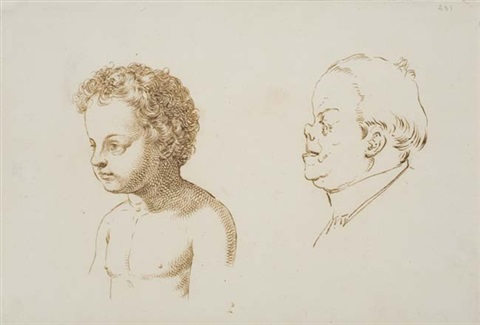 studies of a young boy and a man in profile to the left by giuseppe sabatelli