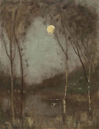 moon over a lake by robert macaulay stevenson