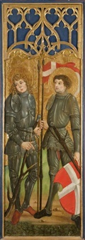 saint eustache et saint maurice et la vierge de l'annonciation, et saint pierre et saint paul et l'ange de l'annonciation (2 recto-verso works) by german school-swabian (16)