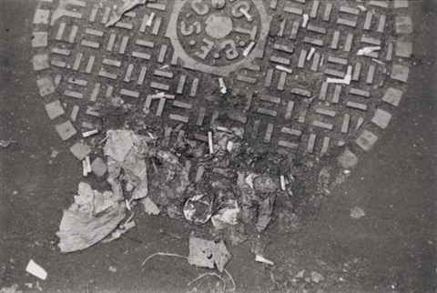 debris on manhole cover new york by walker evans