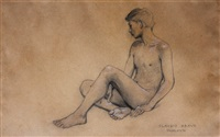 nude sketch of a young boy sitting by claudio bravo
