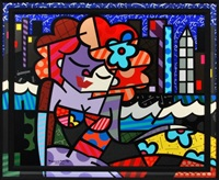 downtown girl silkscreen by romero britto