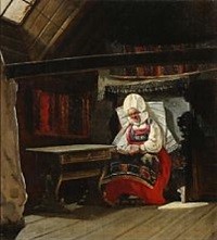 interior with a woman wearing a country costume from the frisian islands by niels simonsen