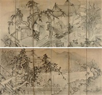 chinese pavilion with immortal on crane (+ the gathering at the orchid pavilion; pair) by japanese school-unkoku (16)