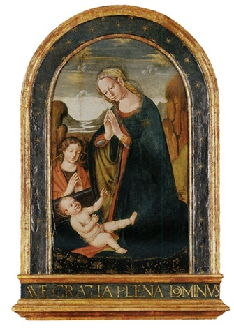 the madonna and child with the young saint john the baptist by jacopo del sellaio