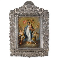 the madonna and child surrounded by angels by josé de alcibar