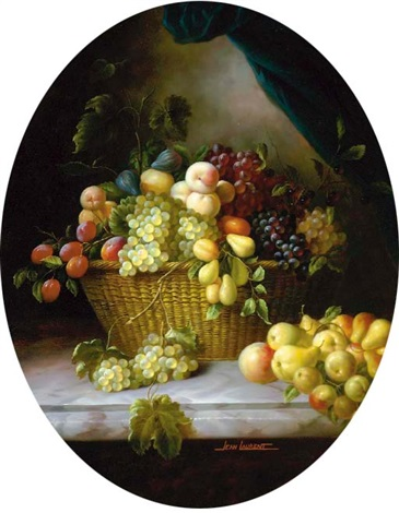 grapes peaches pears and other fruit in a wicker basket on a marble ledge by jean laurent