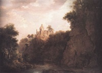 hawthornden castle from the river by jane nasmyth