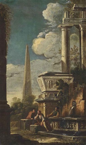 a capriccio of classical ruins with philosophers conversing by niccolò codazzi