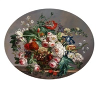 großes blumenstück mit rosen, tulpen, mohn, pfingstrosen und iris by anonymous (19)