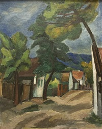 landscape with a village green (recto/verso) by svatopluk machal