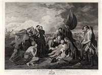 the death of general wolfe (after benjamin west) by william woollett