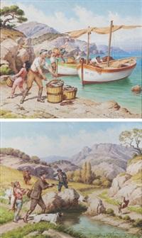 déchargement de la pêche (+ la chasse au lièvre; pair) by jules coulange-lautrec